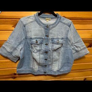 Jackets & Blazers - Midriff light denim wash jean jacket